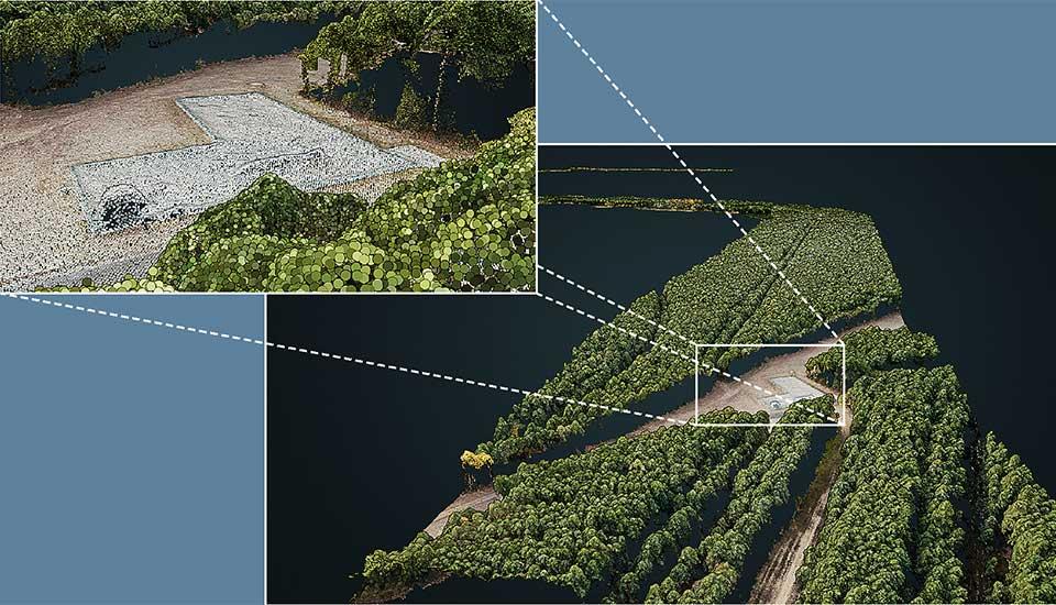 Mit GEOMAGIC 3DVIEW optimierte 3D-Punktwolken eignen sich hervorragend zur Navigation durch Befliegungsdaten. Dabei stehen die schnelle räumliche Orientierung und die visuelle Erschließung weiterführender Informationen im Vordergrund. Dies können die zugrunde liegenden Orthofotos oder andere hinterlegte Infomationen sein. Die Integration in  Kartenanwendungen oder die Nutzung im Webbrowser machen Befliegungsdaten jederzeit verfügbar.